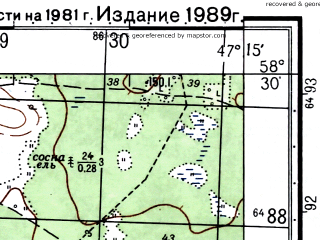 Reduced fragment of topographic map ru--gs--050k--o38-059-3--(1981)--N058-30_E047-00--N058-20_E047-15