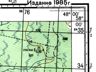 Reduced fragment of topographic map ru--gs--050k--o38-084-2--(1981)--N058-00_E047-45--N057-50_E048-00; towns and cities Chistopolye