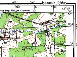 Reduced fragment of topographic map ru--gs--050k--o38-110-3--(1981)--N056-50_E042-30--N056-40_E042-45; towns and cities Pestyaki