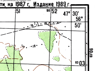 Reduced fragment of topographic map ru--gs--050k--o38-119-4--(1987)--N056-50_E047-15--N056-40_E047-30