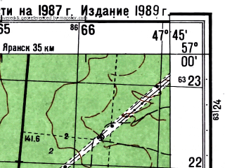 Reduced fragment of topographic map ru--gs--050k--o38-120-1--(1987)--N057-00_E047-30--N056-50_E047-45; towns and cities Upsha