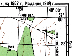 Reduced fragment of topographic map ru--gs--050k--o38-120-2--(1987)--N057-00_E047-45--N056-50_E048-00; towns and cities Orshanka