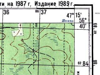 Reduced fragment of topographic map ru--gs--050k--o38-131-1--(1987)--N056-40_E047-00--N056-30_E047-15