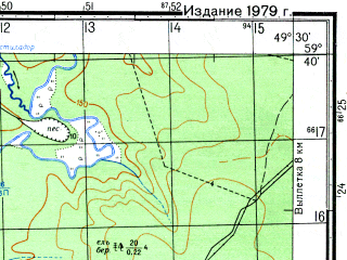Reduced fragment of topographic map ru--gs--050k--o39-015-2--N059-40_E049-15--N059-30_E049-30; towns and cities Letka