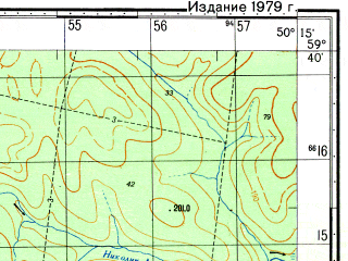 Reduced fragment of topographic map ru--gs--050k--o39-017-1--N059-40_E050-00--N059-30_E050-15