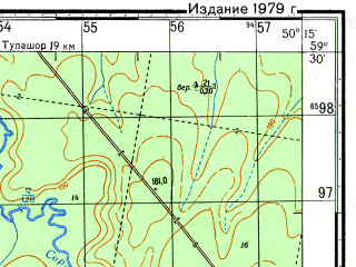 Reduced fragment of topographic map ru--gs--050k--o39-017-3--N059-30_E050-00--N059-20_E050-15