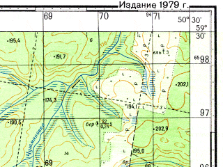 Reduced fragment of topographic map ru--gs--050k--o39-017-4--N059-30_E050-15--N059-20_E050-30