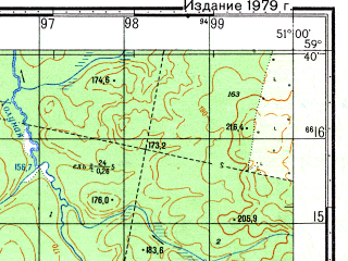 Reduced fragment of topographic map ru--gs--050k--o39-018-2--N059-40_E050-45--N059-30_E051-00
