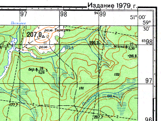 Reduced fragment of topographic map ru--gs--050k--o39-018-4--N059-30_E050-45--N059-20_E051-00