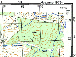 Reduced fragment of topographic map ru--gs--050k--o39-026-3--N059-10_E048-30--N059-00_E048-45