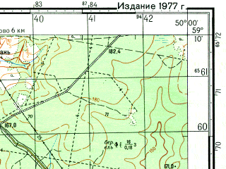 Reduced fragment of topographic map ru--gs--050k--o39-028-4--N059-10_E049-45--N059-00_E050-00; towns and cities Nizhniye Samary