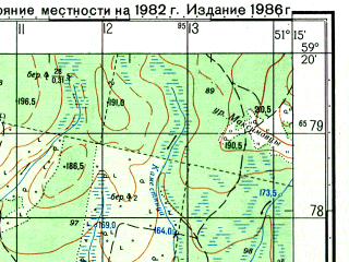 Reduced fragment of topographic map ru--gs--050k--o39-031-1--N059-20_E051-00--N059-10_E051-15; towns and cities Dubrovka