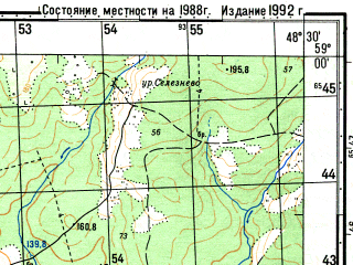 Reduced fragment of topographic map ru--gs--050k--o39-037-2--N059-00_E048-15--N058-50_E048-30; towns and cities Kobra, Ral'nikovy