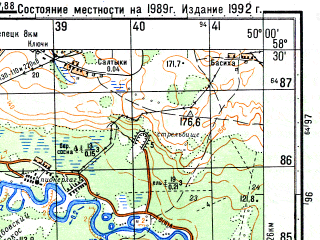 Reduced fragment of topographic map ru--gs--050k--o39-052-4--N058-30_E049-45--N058-20_E050-00; towns and cities Prosnitsa