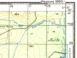Reduced fragment of topographic map ru--gs--050k--o39-055-2--N058-40_E051-15--N058-30_E051-30