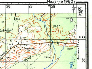 Reduced fragment of topographic map ru--gs--050k--o39-055-4--N058-30_E051-15--N058-20_E051-30; towns and cities Kosino