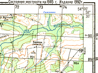 Reduced fragment of topographic map ru--gs--050k--o39-060-4--N058-30_E053-45--N058-20_E054-00