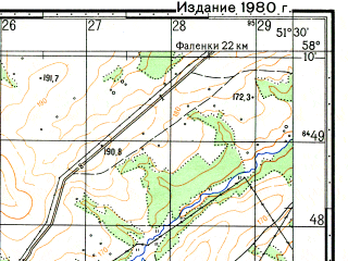 Reduced fragment of topographic map ru--gs--050k--o39-067-4--N058-10_E051-15--N058-00_E051-30