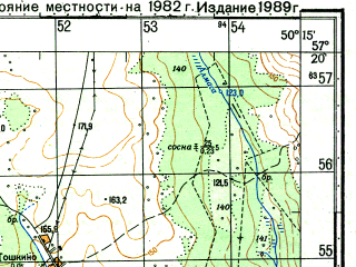 Reduced fragment of topographic map ru--gs--050k--o39-101-1--N057-20_E050-00--N057-10_E050-15; towns and cities Arkul'