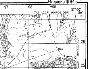 Reduced fragment of topographic map ru--gs--050k--o39-138-4--N056-10_E050-45--N056-00_E051-00; towns and cities Uryasbash