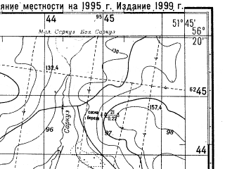 Reduced fragment of topographic map ru--gs--050k--o39-140-1--N056-20_E051-30--N056-10_E051-45; towns and cities Kizner
