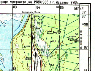 Reduced fragment of topographic map ru--gs--050k--o40-018-3--N059-30_E056-30--N059-20_E056-45; towns and cities Usol'ye