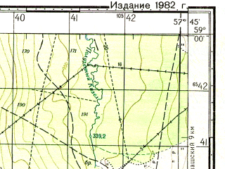 Reduced fragment of topographic map ru--gs--050k--o40-044-1--N059-00_E057-30--N058-50_E057-45; towns and cities Gubakha, Ugleural'skiy