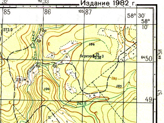 Reduced fragment of topographic map ru--gs--050k--o40-069-4--N058-10_E058-15--N058-00_E058-30; towns and cities Chizma