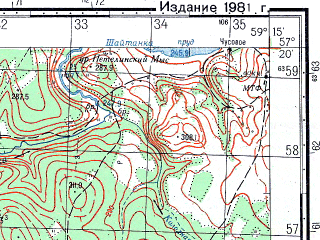 Reduced fragment of topographic map ru--gs--050k--o40-107-1--N057-20_E059-00--N057-10_E059-15