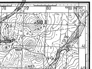 Reduced fragment of topographic map ru--gs--050k--o40-108-4--N057-10_E059-45--N057-00_E060-00