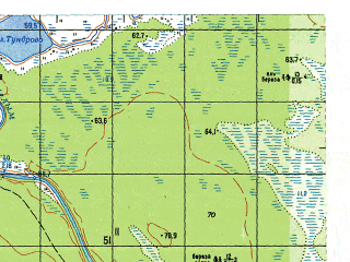 Reduced fragment of topographic map ru--gs--050k--o41-007-1--N060-00_E063-00--N059-50_E063-15