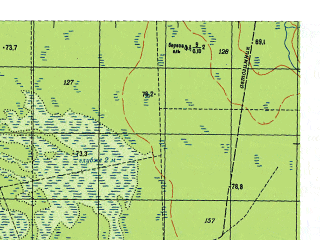 Reduced fragment of topographic map ru--gs--050k--o41-007-4--N059-50_E063-15--N059-40_E063-30