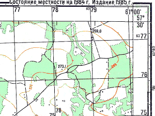 Reduced fragment of topographic map ru--gs--050k--o41-086-4--N057-30_E060-45--N057-20_E061-00; towns and cities Oktyabr'skoye