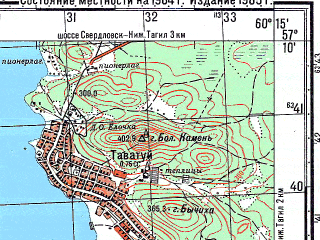 Reduced fragment of topographic map ru--gs--050k--o41-097-3--N057-10_E060-00--N057-00_E060-15; towns and cities Kalinovo, Tavatuy