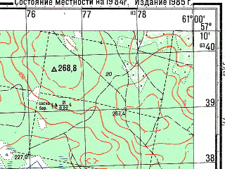 Reduced fragment of topographic map ru--gs--050k--o41-098-4--N057-10_E060-45--N057-00_E061-00; towns and cities Monetnyy, Klyuchevsk