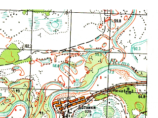 Reduced fragment of topographic map ru--gs--050k--o41-131-4--N056-30_E065-15--N056-20_E065-30; towns and cities Isetskoye