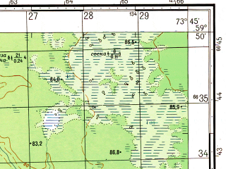 Reduced fragment of topographic map ru--gs--050k--o43-004-3--N059-50_E073-30--N059-40_E073-45