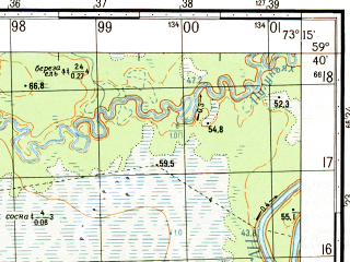 Reduced fragment of topographic map ru--gs--050k--o43-015-1--N059-40_E073-00--N059-30_E073-15