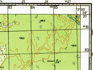 Reduced fragment of topographic map ru--gs--050k--o43-026-2--N059-20_E072-45--N059-10_E073-00