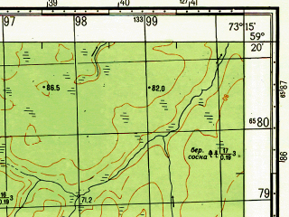 Reduced fragment of topographic map ru--gs--050k--o43-027-1--N059-20_E073-00--N059-10_E073-15