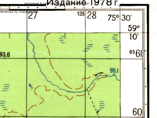 Reduced fragment of topographic map ru--gs--050k--o43-031-4--N059-10_E075-15--N059-00_E075-30
