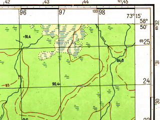 Reduced fragment of topographic map ru--gs--050k--o43-039-3--N058-50_E073-00--N058-40_E073-15