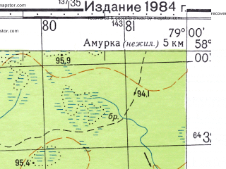Reduced fragment of topographic map ru--gs--050k--o44-074-2--N058-00_E078-45--N057-50_E079-00; towns and cities Selveykino