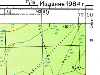 Reduced fragment of topographic map ru--gs--050k--o44-074-4--N057-50_E078-45--N057-40_E079-00; towns and cities Mirnoye Ozero