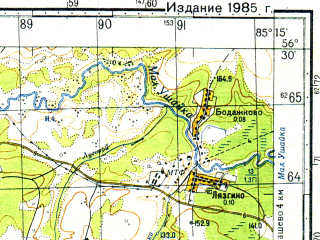 Reduced fragment of topographic map ru--gs--050k--o45-123-3--N056-30_E085-00--N056-20_E085-15; towns and cities Luchanovo, Mazheninovka