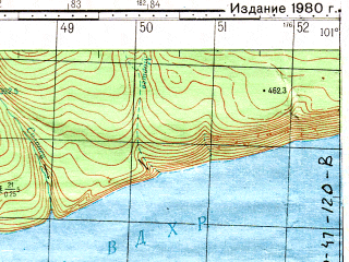 Reduced fragment of topographic map ru--gs--050k--o47-119-4--N056-50_E101-15--N056-40_E101-30