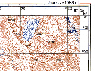 Reduced fragment of topographic map ru--gs--050k--o50-115-4--N056-50_E117-15--N056-40_E117-30