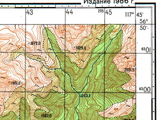 Reduced fragment of topographic map ru--gs--050k--o50-116-3--N056-50_E117-30--N056-40_E117-45