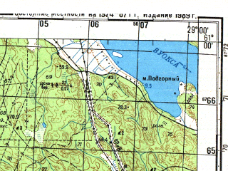 Reduced fragment of topographic map ru--gs--050k--p35-118-1_2--N061-00_E028-30--N060-50_E029-00; towns and cities Nuijamaa