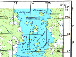 Reduced fragment of topographic map ru--gs--050k--p35-119-3_4--N060-50_E029-00--N060-40_E029-30; towns and cities Pirilya